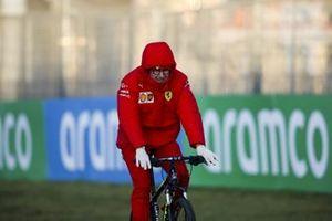 Mattia Binotto, Team Principal Ferrari on a bike