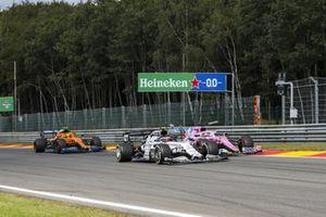 Pierre Gasly, AlphaTauri AT01, Sergio Perez, Racing Point RP20, and Lando Norris, McLaren MCL35
