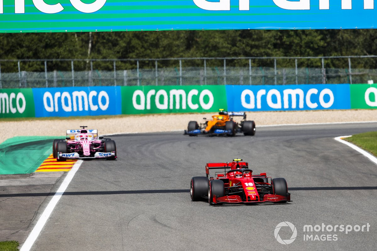Charles Leclerc, Ferrari SF1000, Sergio Perez, Racing Point RP20, and Lando Norris, McLaren MCL35