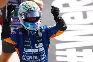 Daniel Ricciardo, McLaren, 1st position, celebrates in Parc Ferme