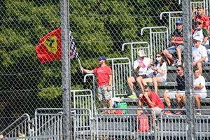 A Ferrari fan waves a flag in a grandstand