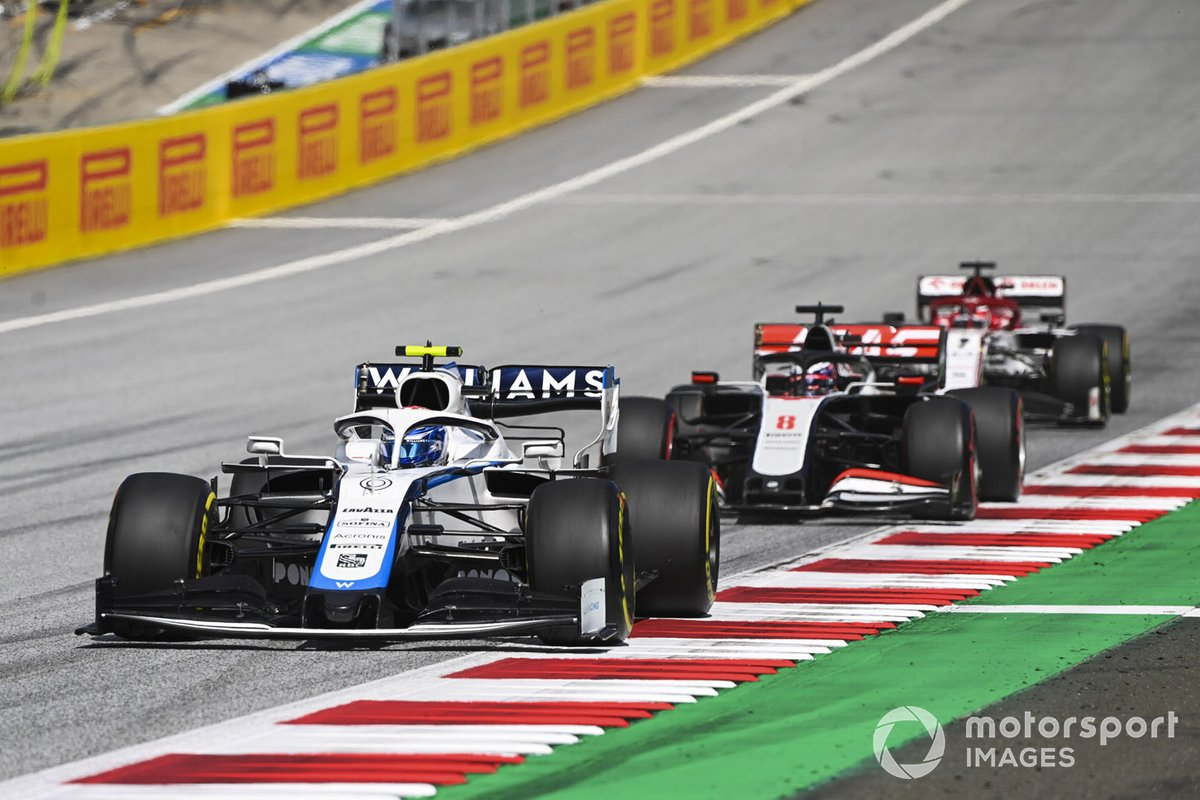 Nicholas Latifi, Williams FW43, Romain Grosjean, Haas VF-20 e Kimi Raikkonen, Alfa Romeo Racing C39