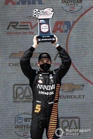 Patricio O'Ward, Arrow McLaren SP Chevrolet, podium