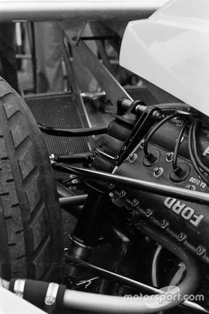 Rear suspension detail on James Hunt's Hesketh 308B Ford