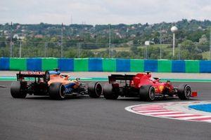 Charles Leclerc, Ferrari SF1000, leads Carlos Sainz Jr., McLaren MCL35