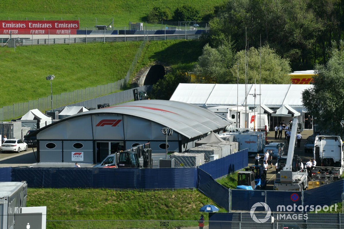 A scenic view of the paddock and television compound
