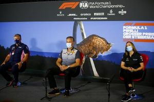 Otmar Szafnauer, Team Principal and CEO, Racing Point, Mario Isola, Racing Manager, Pirelli Motorsport and Claire Williams, Deputy Team Principal, Williams Racing in the press conference