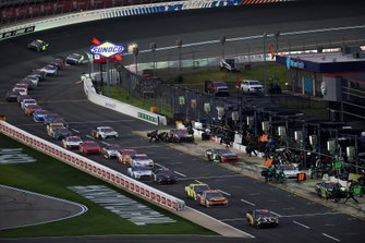 Kyle Busch, Joe Gibbs Racing Toyota App State Class of 2020, leads a pack of cars in pit road