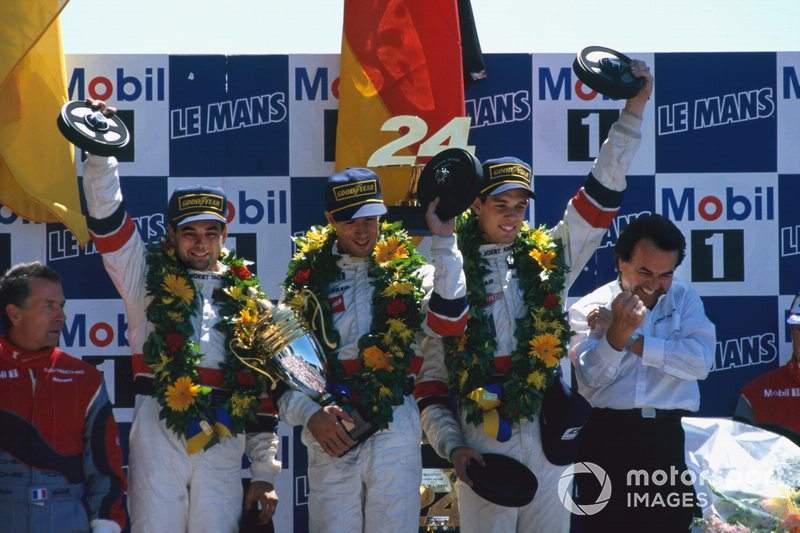 1996 Le Mans 24 Hours - Race winners Davy Jones, Alexander Wurz, Manuel Reuter, TWR Porsche WSC 95 on the podium