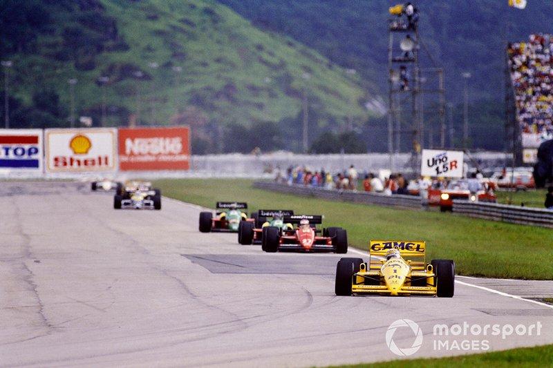Nelson Piquet, Lotus 100T Honda, Michele Alboreto, Ferrari F1/87-88C
