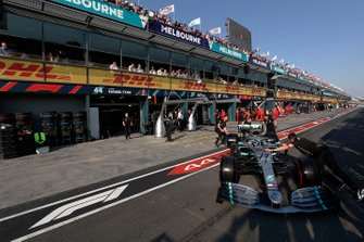 Valtteri Bottas, Mercedes AMG W10, is returned to his garage
