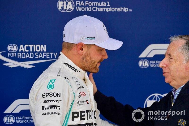 Pole starter Sebastian Vettel, Ferrari, with Jean Todt, President, FIA