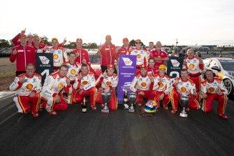 Winner Scott McLaughlin, DJR Team Penske, second place Fabian Coulthard, DJR Team Penske celebrates with the team members