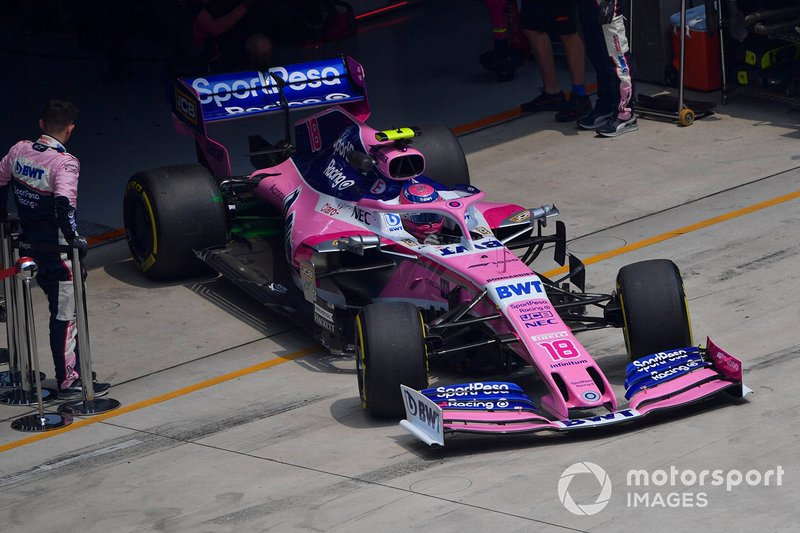 Lance Stroll, Racing Point RP19, leaves the garage