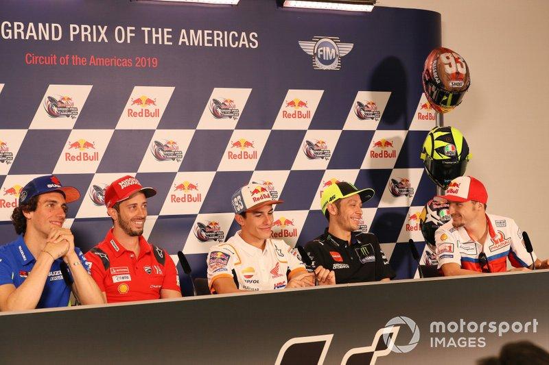 Alex Rins, Team Suzuki MotoGP, Andrea Dovizioso, Ducati Team, Marc Marquez, Repsol Honda Team, Valentino Rossi, Yamaha Factory Racing, Jack Miller, Pramac Racing, Press Conference