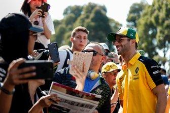 Daniel Ricciardo, Renault F1 Team poses for a selfie with a fan