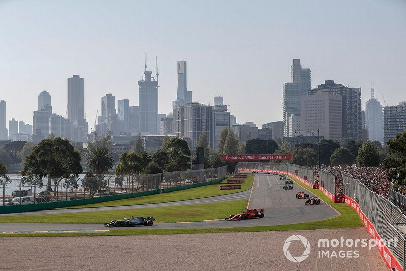 Lewis Hamilton, Mercedes AMG F1 W10, Sebastian Vettel, Ferrari SF90, Max Verstappen, Red Bull Racing RB15, Charles Leclerc, Ferrari SF90, y Kevin Magnussen, Haas F1 Team VF-19