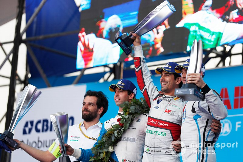 Antonio Felix da Costa, BMW I Andretti Motorsports, Lucas Di Grassi, Audi Sport ABT Schaeffler, and Edoardo Mortara, Venturi Formula E, celebrate on the podium.