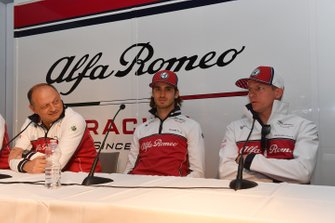 Frederic Vasseur, Alfa Romeo Racing, Team Principal, Antonio Giovinazzi, Alfa Romeo Racing and Kimi Raikkonen, Alfa Romeo Racing in a Press conference