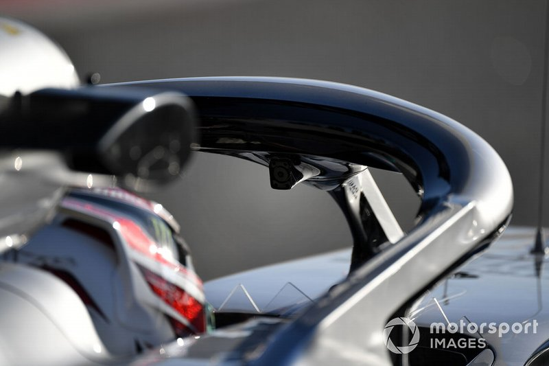 Lewis Hamilton, Mercedes-AMG F1 W10 EQ Power+ driver facing camera on halo