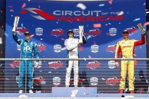 Josef Newgarden, Team Penske Chevrolet, Colton Herta, Harding Steinbrenner Racing Honda, Ryan Hunter-Reay, Andretti Autosport Honda, sur le podium