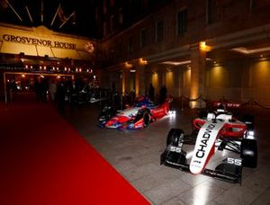 W Series and Formula E cars on display outside