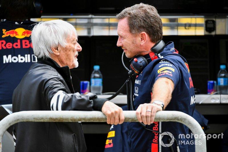 Bernie Ecclestone, Presidente Emiritus de Fórmula 1, y Christian Horner, Director, Red Bull Racing