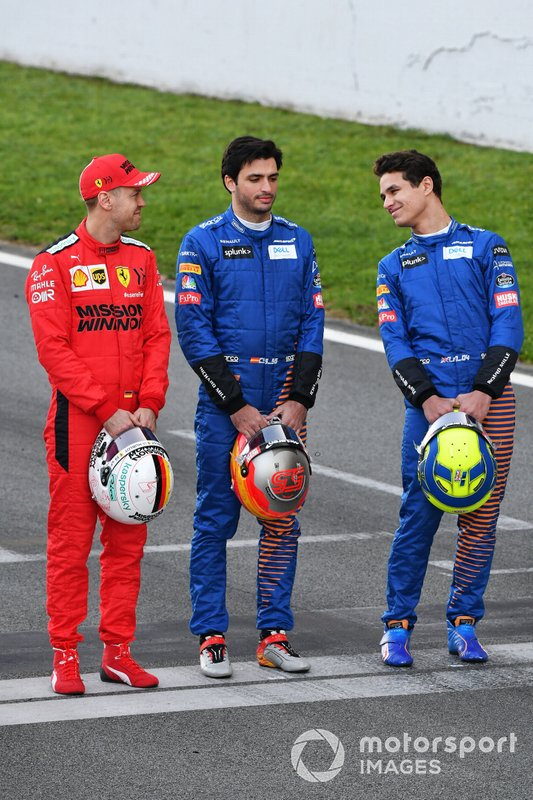 Sebastien Vettel, Ferrari, Carlos Sainz, McLaren and Lando Norris, McLaren