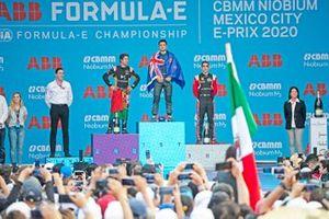 Mitch Evans, Jaguar Racing, celebrates on the podium after winning the race