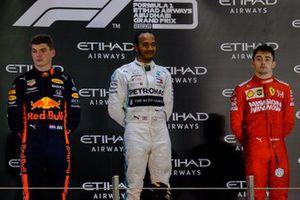 Podium: Max Verstappen, Red Bull Racing, Lewis Hamilton, Mercedes AMG F1, Charles Leclerc, Ferrari