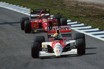 Ayrton Senna, McLaren MP4/5B, Alain Prost, Ferrari 641