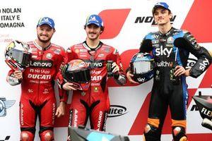 Polesitter Francesco Bagnaia, Ducati Team, second place Jack Miller, Ducati Team, third place Luca Marini, Esponsorama Racing
