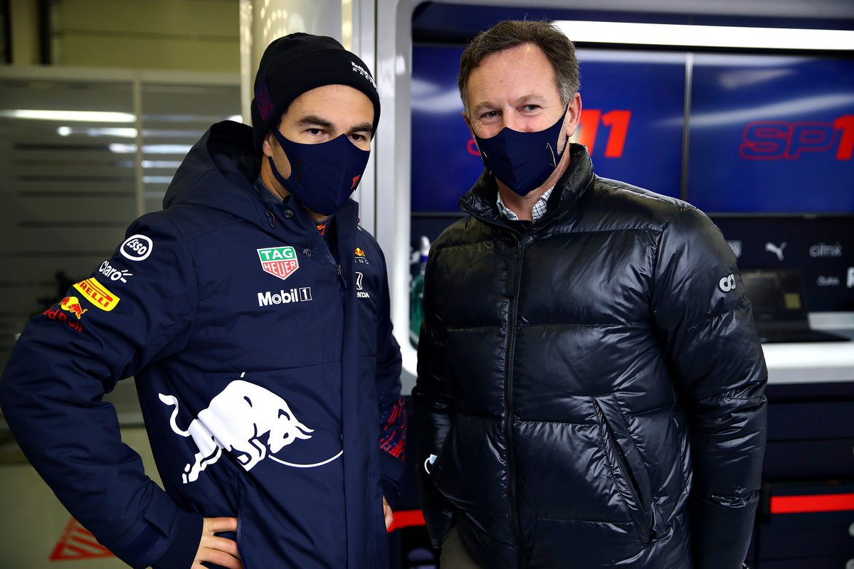 Sergio Perez, Red Bull Racing and Christian Horner, Red Bull Racing Team Principal