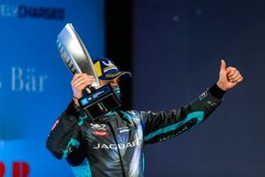 Mitch Evans, Panasonic Jaguar Racing, 3rd position, on the podium with his trophy