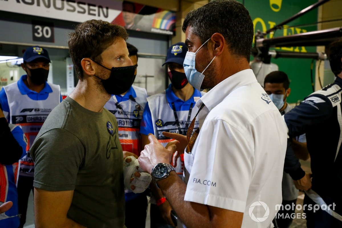 Romain Grosjean, Haas F1 meets Michael Masi, Race Director