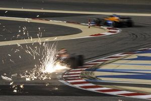 Sparks fly from Alex Albon, Red Bull Racing RB16