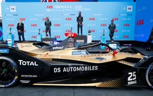 Sam Bird, Jaguar Racing, 2nd position, Jean-Eric Vergne, DS Techeetah, 1st position, Mitch Evans, Jaguar Racing, 3rd position, on the podium