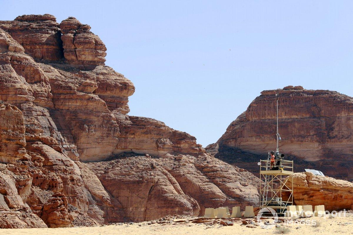 TV camera platform in the desert
