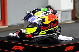 Helmet of Sergio Perez, Red Bull Racing in Parc Ferme