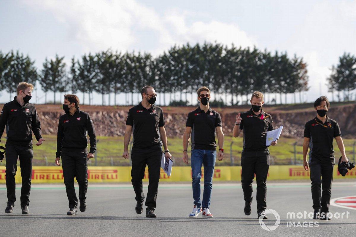 Romain Grosjean, Haas F1, walks the track
