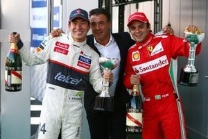 Second placed Felipe Massa, Ferrari, third place Kamui Kobayashi, Sauber C31 celebrate with Jean Alesi