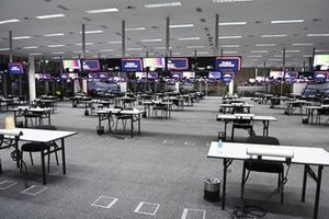 The media centre, with socially distanced desks
