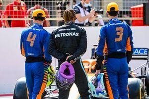 Lando Norris, McLaren, Lewis Hamilton, Mercedes, and Daniel Ricciardo, McLaren