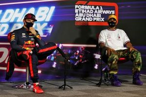 Pole man Max Verstappen, Red Bull Racing, and Lewis Hamilton, Mercedes-AMG F1, in the post Qualifying Press Conference