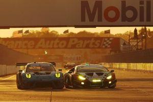 #16 Wright Motorsports Porsche 911 GT3R, GTD: Patrick Long, Trent Hindman, Jan Heylen, #1 Paul Miller Racing Lamborghini Huracan GT3, GTD: Madison Snow, Bryan Sellers, Corey Lewis