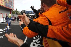 Lando Norris, McLaren, 3rd position, celebrates on arrival in Parc Ferme