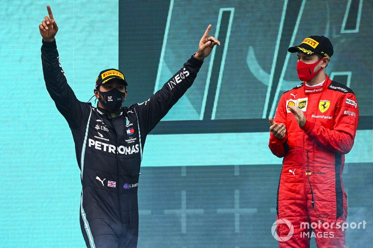 Podio: ganador y campeón del mundo Lewis Hamilton, Mercedes-AMG F1, y tercer lugar Sebastián Vettel, Ferrari
