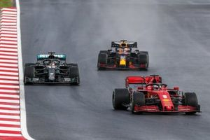 Sebastian Vettel, Ferrari SF1000, Lewis Hamilton, Mercedes F1 W11, and Max Verstappen, Red Bull Racing RB16