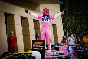 Sergio Perez, Racing Point, 1st position, celebrates in Parc Ferme