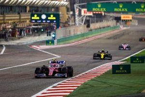 Lance Stroll, Racing Point RP20 , Esteban Ocon, Renault F1 Team R.S.20, and Sergio Perez, Racing Point RP20